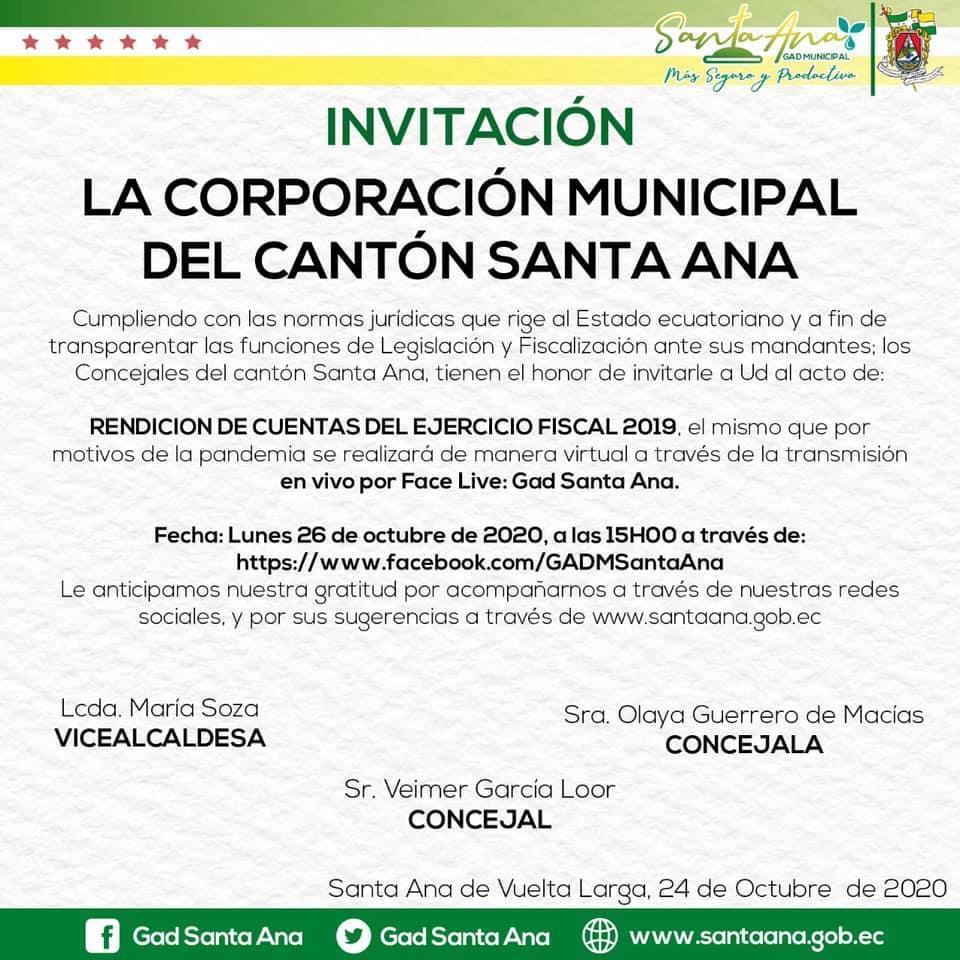 CONVOCATORIA PÚBLICA Concejales de Santa Ana rendirán cuentas a sus mandantes